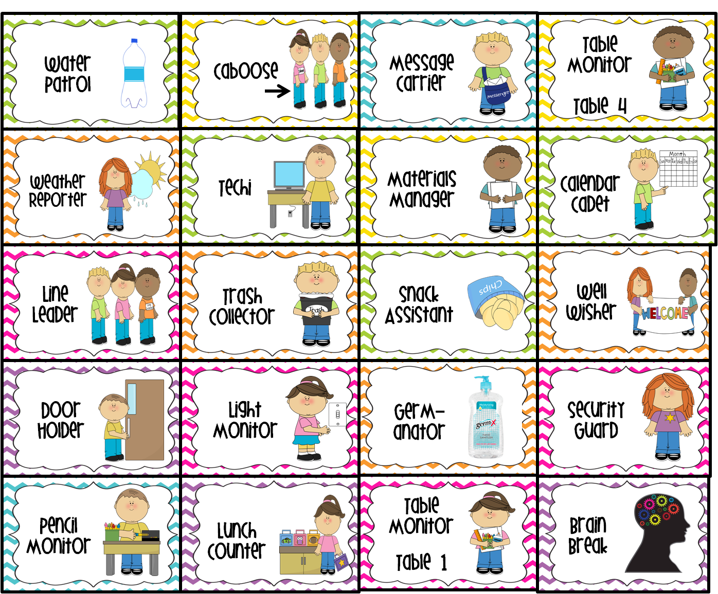 ... message carrier, table monitor 1-4, weather ... Different Jobs Clipart