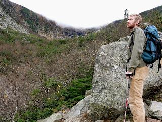 hiker in ravine