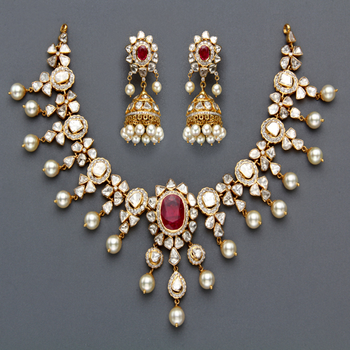 New Necklace Earring Set Gold Polki Jewellery Indian: Indian Jewellery And Clothing: Polki Necklace Sets From