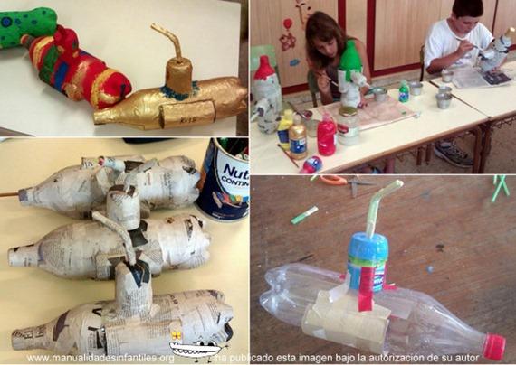 Submarino con botellas de plástico para niños ~ Un Manitas en Casa