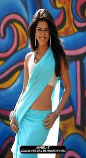 Shradda das in blue low hip saree
