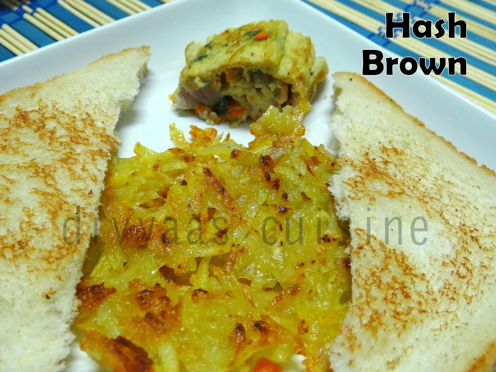 Hash Brown Potato Fry Egg Omelet Roll Bread Roast