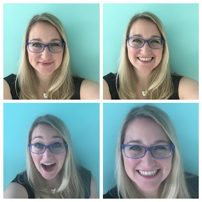 blonde girl blue glasses