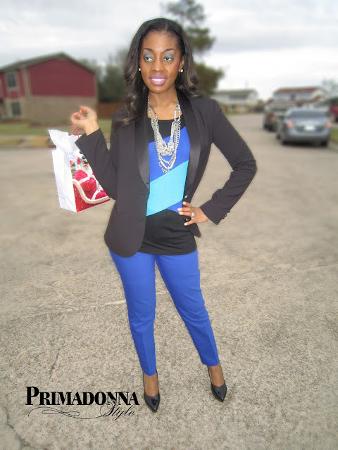 Blue pants Kirna Zabete blazer cable and gauge colorblock top