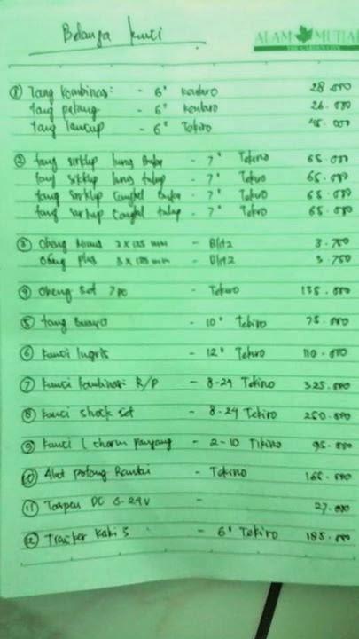 daftar harga alat bengkel motor