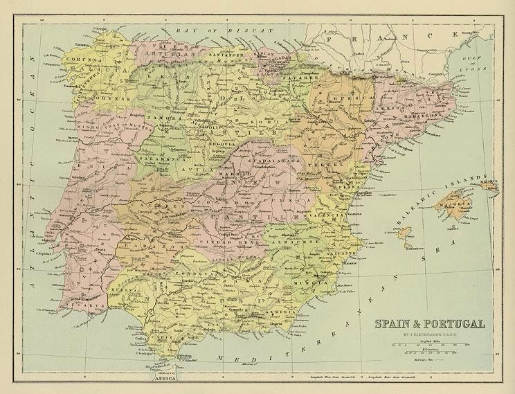 Spain and Portugal 1870 John Bartholomew