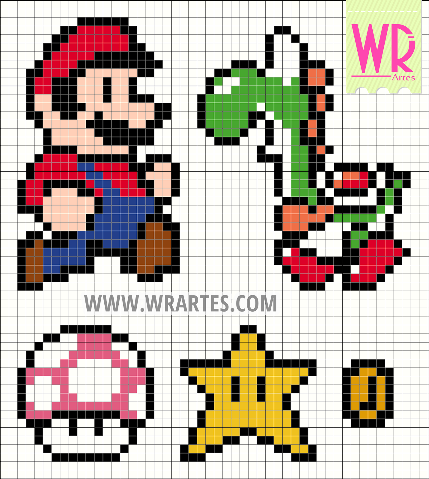 grafico ponto cruz infantil super mario bros cross stitch pattern chart free gratis
