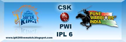 CSK vs PWI Live Streaming Video Live Scorecards IPL 6 Records