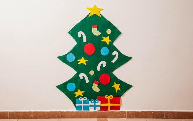 El arte de educar rbol de navidad en fieltro paso a paso for Arbol de navidad mural