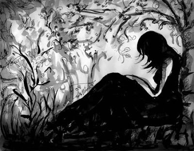 loose ink painting of a woman sitting alone under a tree with her head down
