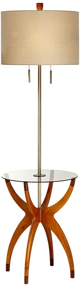 fave glass and wood modern end table with built in floor lamp. Black Bedroom Furniture Sets. Home Design Ideas