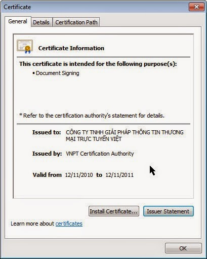 Kiểm tra chữ ký số VNPTCA