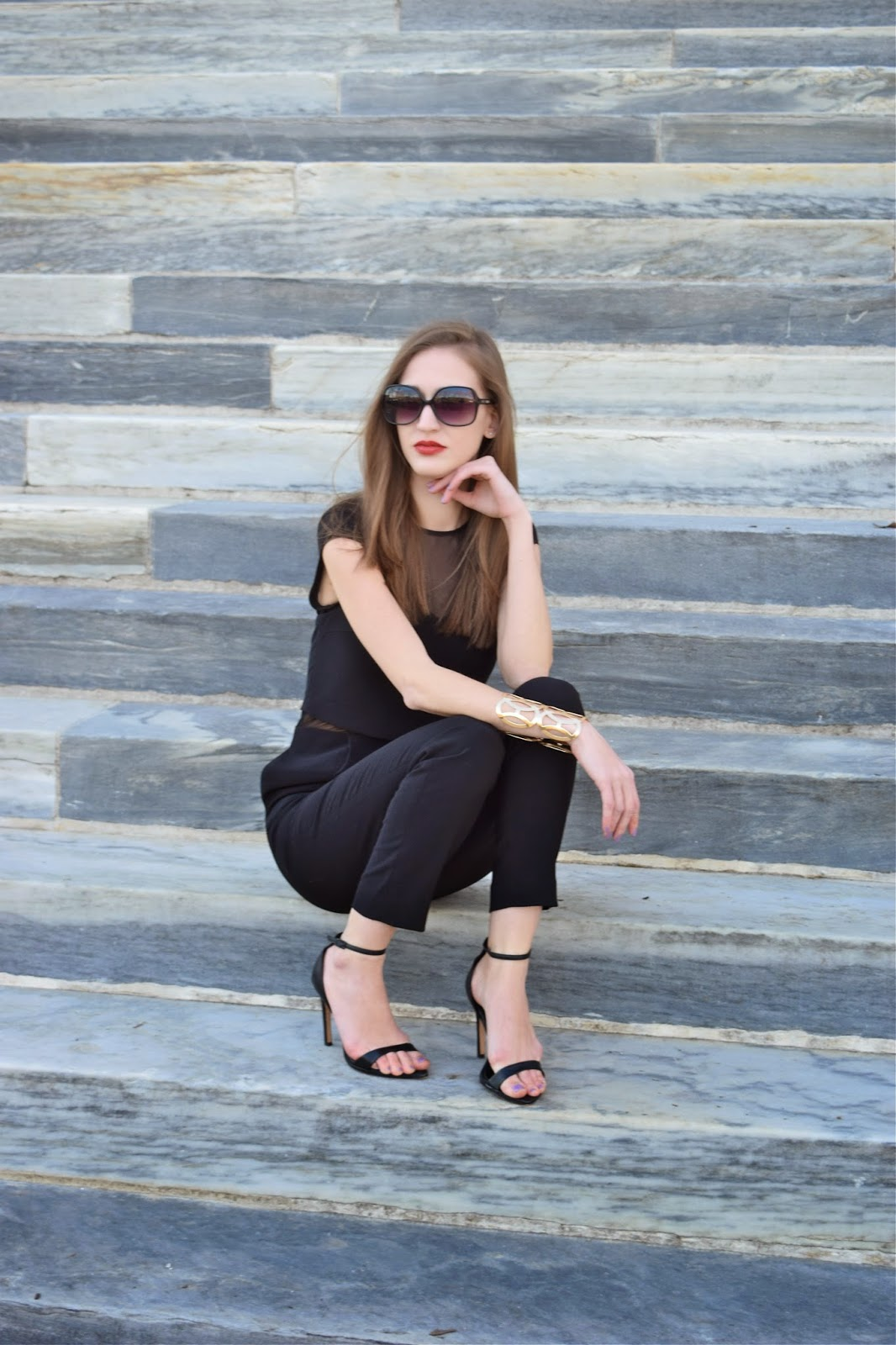 Wearing Express Layered Mesh Cut Out Jumpsuit, Zara ankle strap heels, Forever21 Gold Cuff