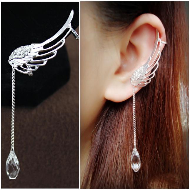 Angel's wings hollow-out rhinestone earrings fashion