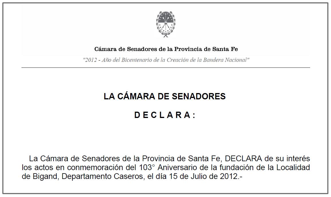 La c mara de senadores de la provincia de santa fe declar for La camara de senadores