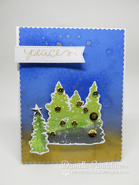 Peaceful Tree card by Danielle Pandeline | Whispering Pines Stamp set by Newton's Nook Designs #newtonsnook