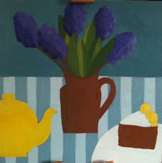 oil painting of a jug containing blue hyacinths with a yellow teapot and a slice of cake