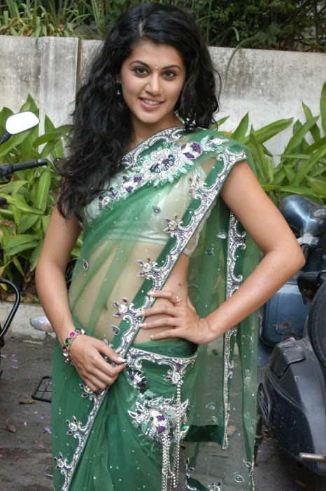 tapsee in shadow movie fame green saree , glamour  images