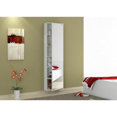 Sapateira espelhada possui seis prateleiras. Ideal para colocação de sapatos e outros objetos