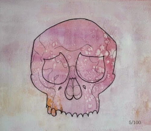 Whoopidooings:Carmen Wing - Mixed Media Portrait #100Facesin365 #Face #Skull