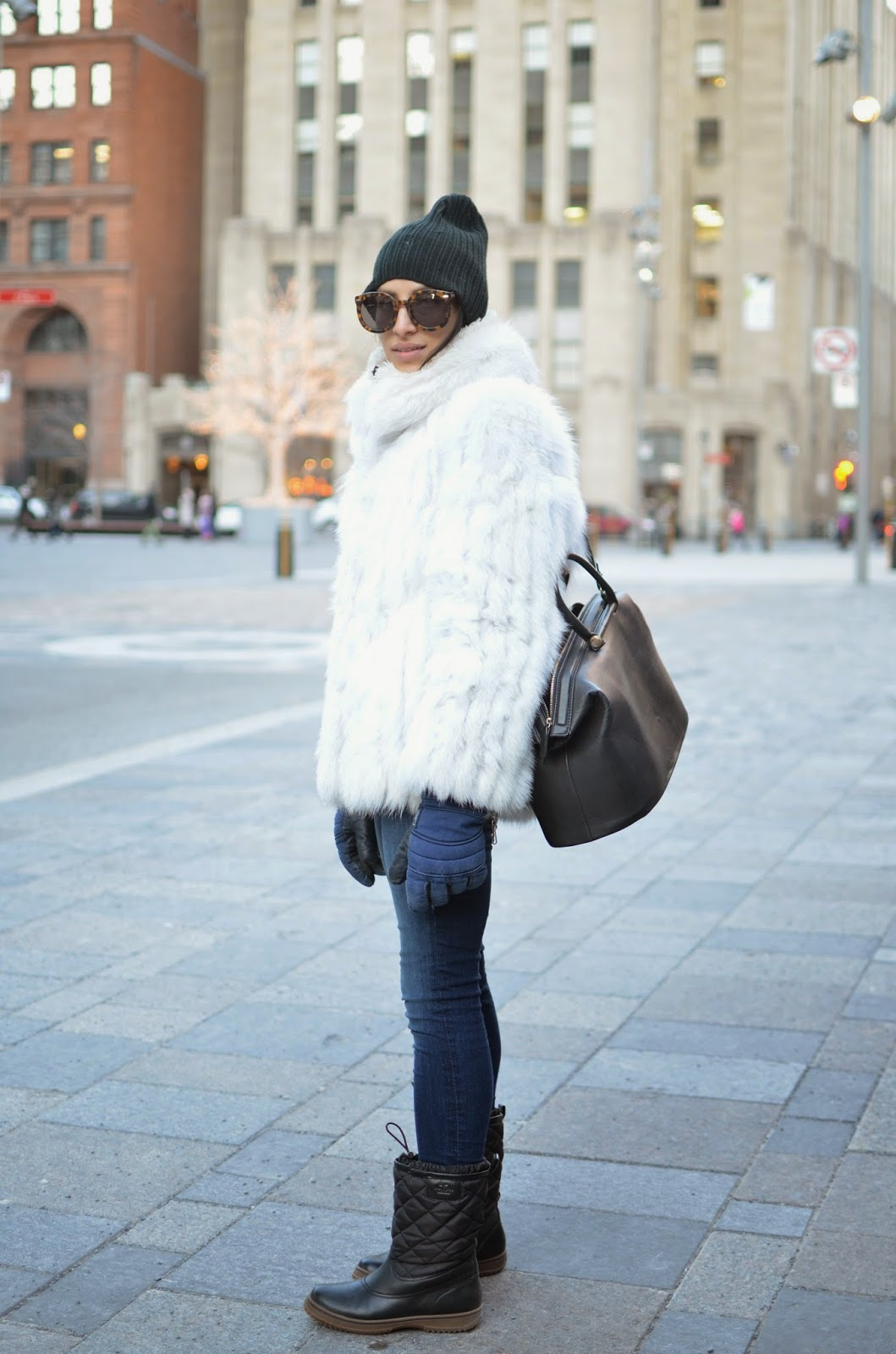 Karen Walker Super sunglasses, winter style, vintage, vintage fur, Montreal, Montreal style, Old Montreal