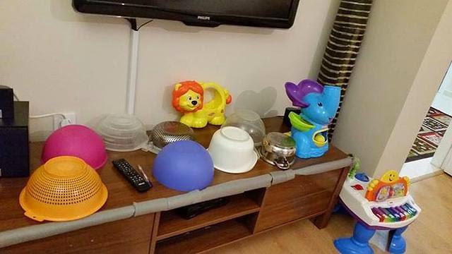 Mutfak eşyalarından oluşan davul seti