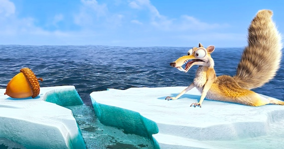 Scrat looking at a nut on another floe in Ice Age: Continental Drift animatedfilmreviews.filminspector.com 2012