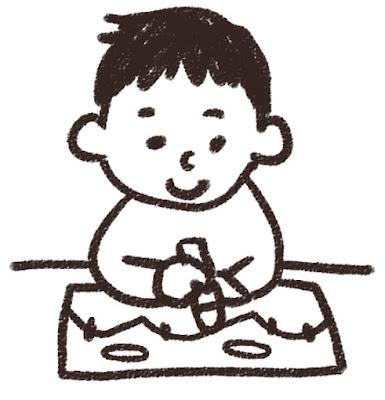 お絵かきをしている男の子のイラスト 白黒線画