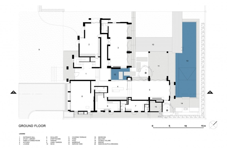 Ground floor plan of Contemporary Villa by SAOTA