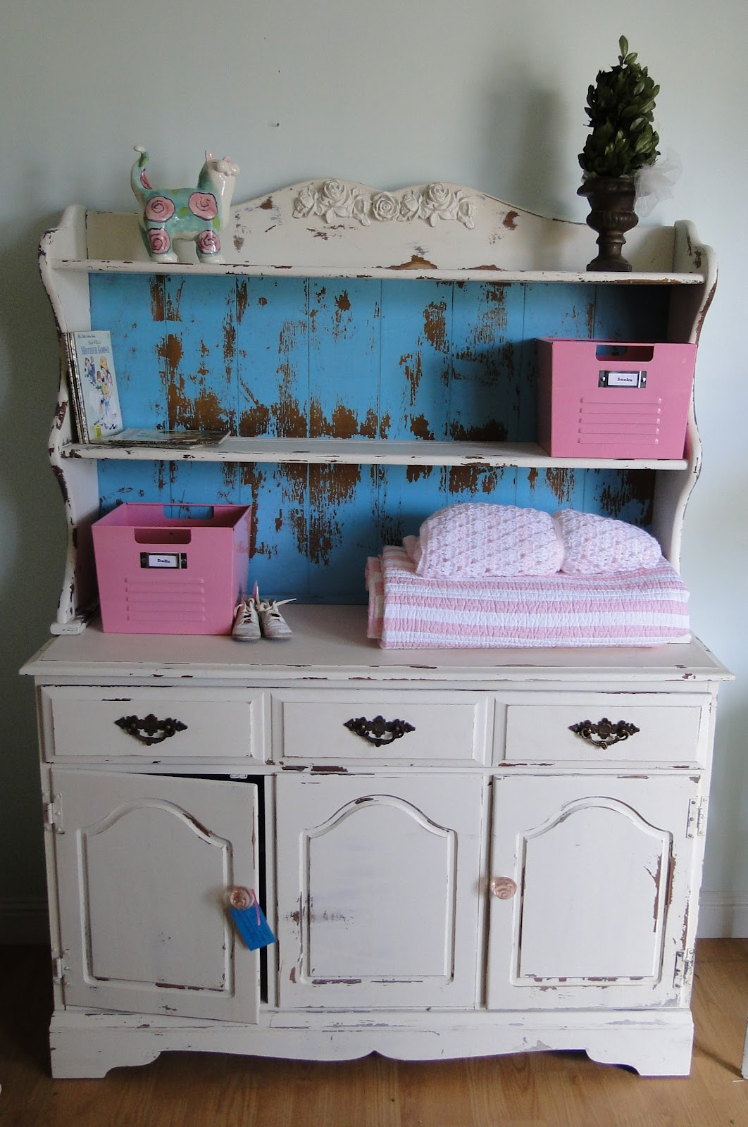Beautiful shabby sideboard changing table hutch