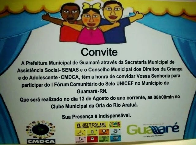 CONVITE: I FÓRUM COMUNITÁRIO DO SELO UNICEF