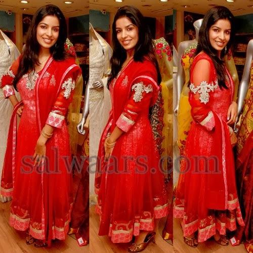 Annie Red Shimmer Salwar