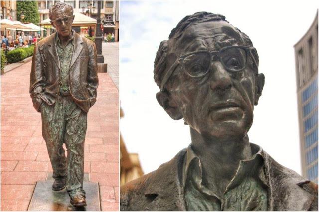 Escultura Monumento a Woody Allen de Vicente Menendez Santarua en Oviedo