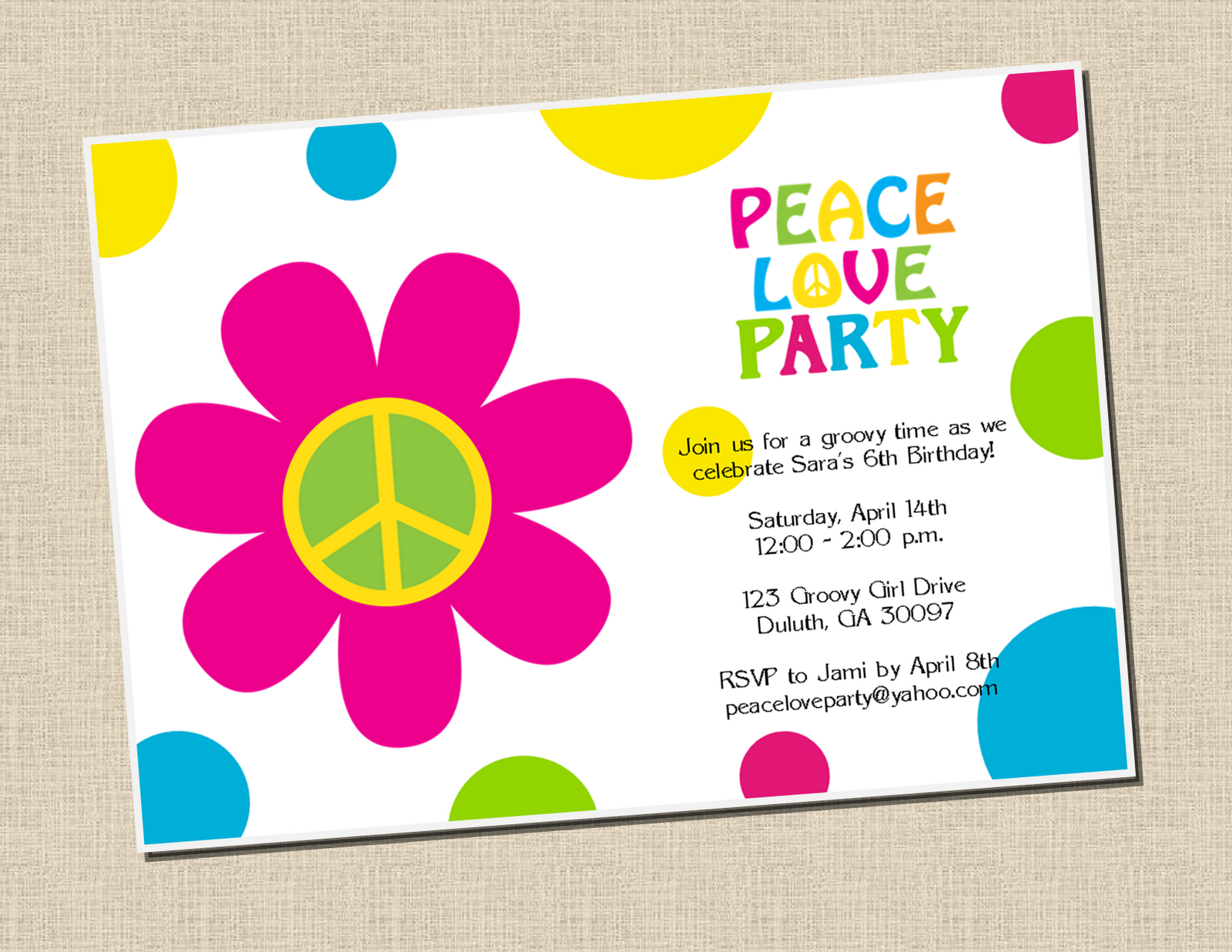 Peace Love Party - Sweet Peach Paperie