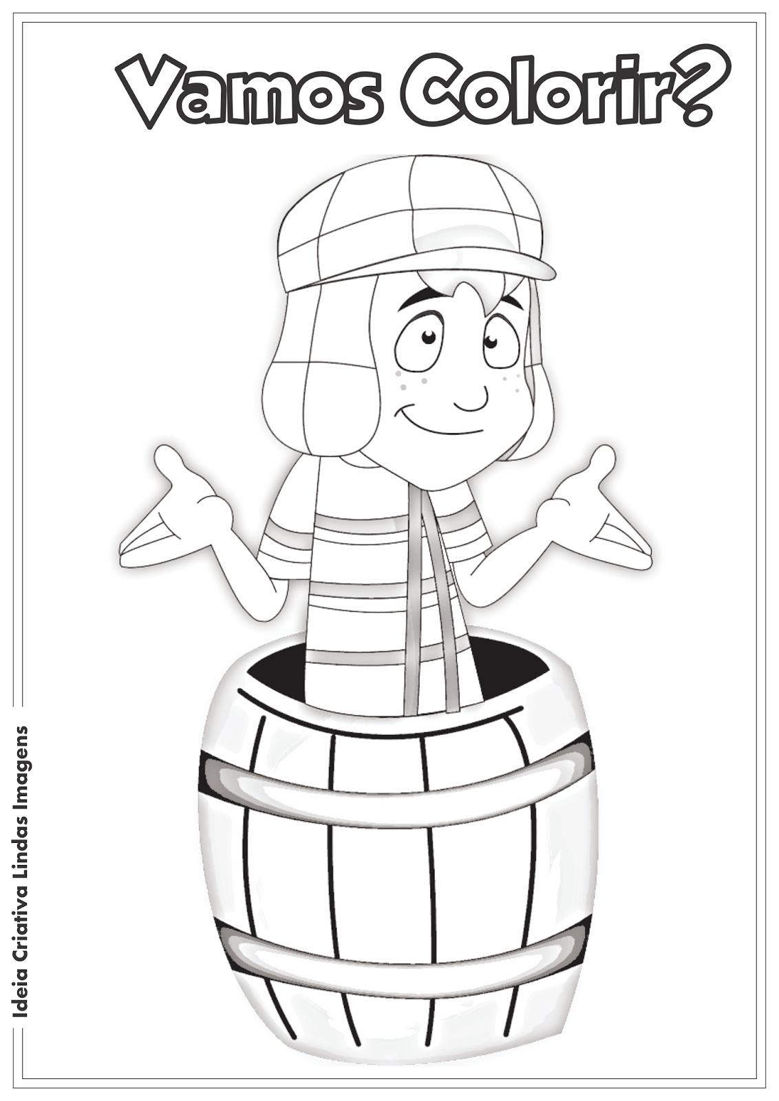 Chaves em desenho animado desenho para colorir