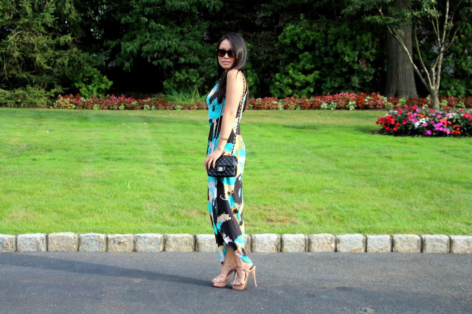 summer wedding guest Shona Joy palette draped maxi dress Yves Saint Laurent platform sandals