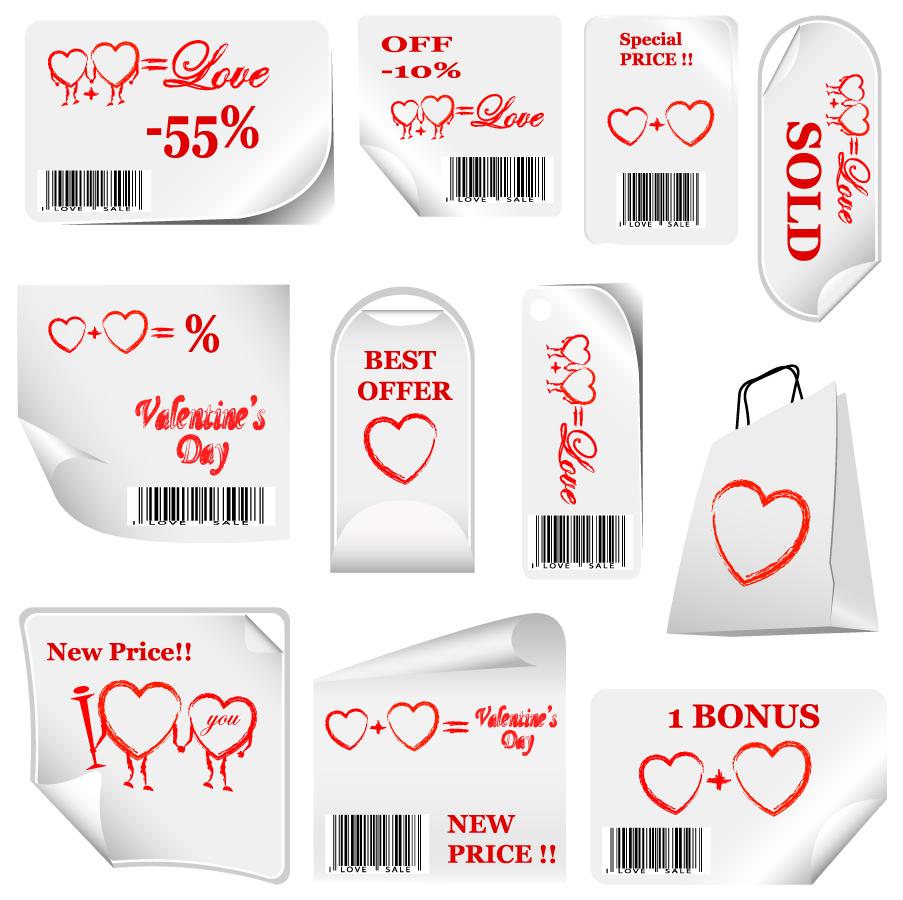 ハートの販促ラベル デザイン Heart valentine day promotional label イラスト素材