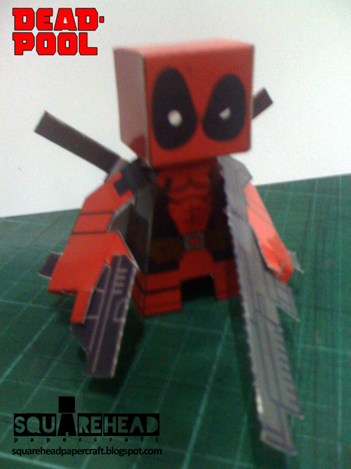 square head papercraft  dead pool papercraft