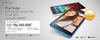 Microsoft Lumia 540 Dual SIM Cashback Rp 300.000 di Global Teleshop