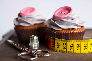 Cupcakes de vainilla y botón