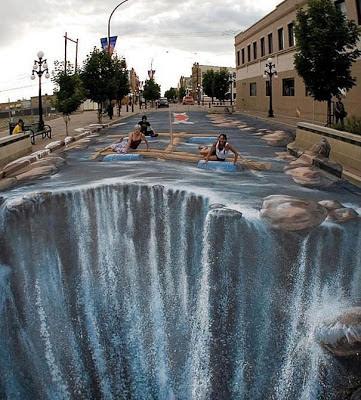 Foto graffiti 3D en el piso cataratas