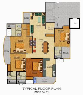 Emerald Court :: Floor Plans,Aspire / Bluestone 2:-Typical Floor4 Bedrooms, 4 Toilets, Kitchen, Dining, Drawing, 4 Balconies Area - 2535 Sq. Ft.