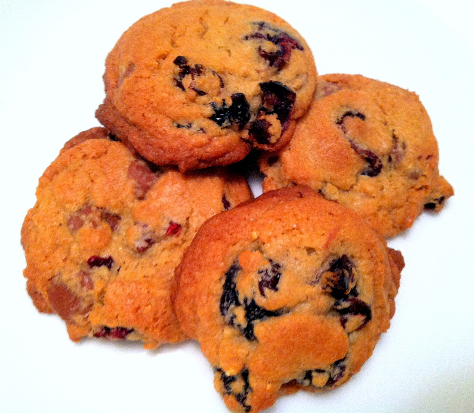 milk chocolate chip and cherry cookie
