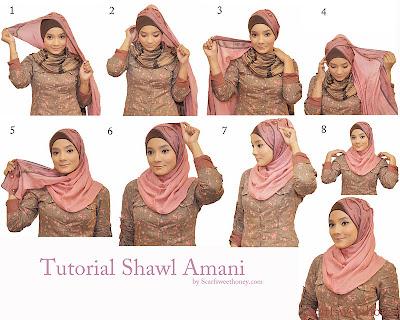 Cara Memakai Jilbab Shawl Amani Style
