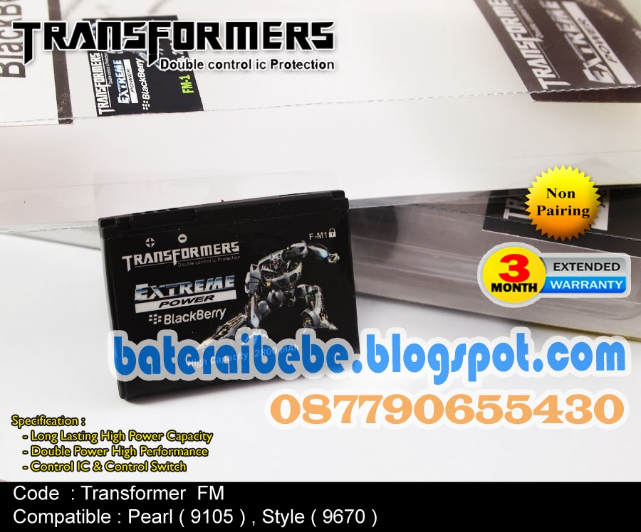 Baterai Blackberry Double Power FM1 Transformer Pearl 3G 9100/9105 TrackPad  Pearl 9670 STYLE