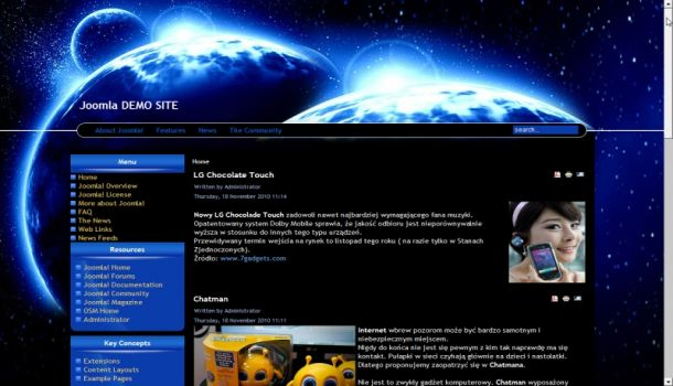 Blue World Joomla Theme Template