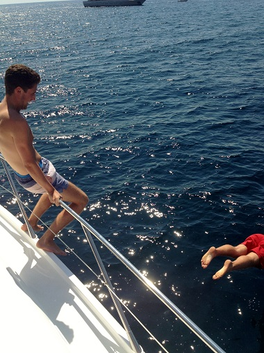 Diving from the yacht