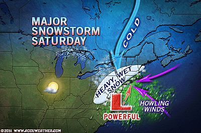 >Potentially Major and Historic Snowstorm Aims at Populated Northeast on Saturday