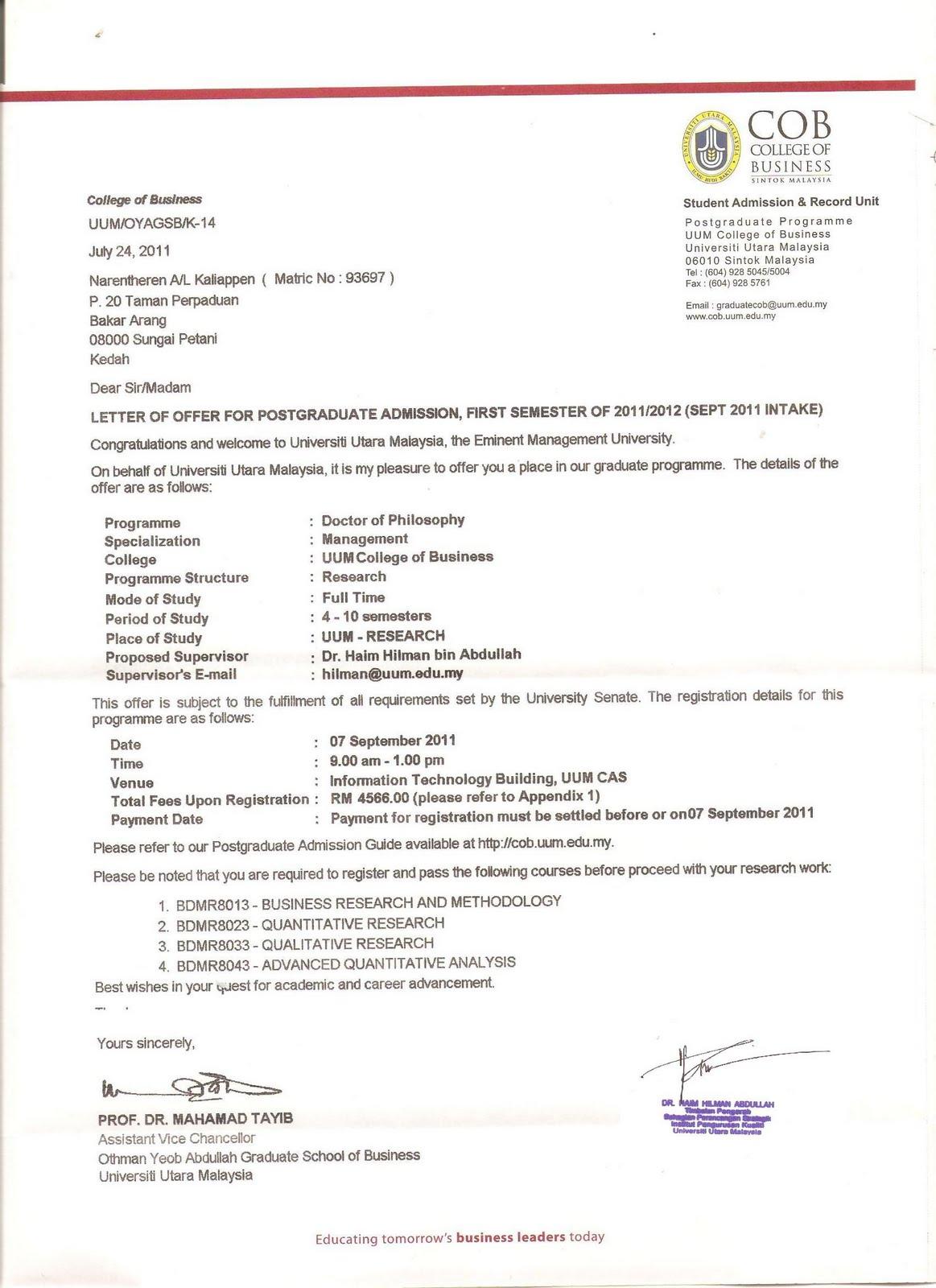 NaReNtHeReN My PhD Offer Letter