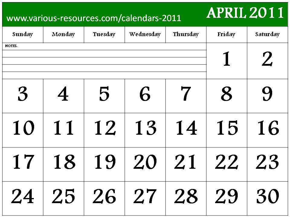 free april 2011 calendar template. APRIL 2011 CALENDAR TEMPLATE